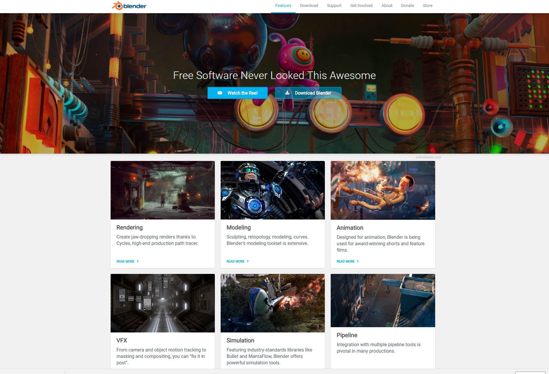 Web de Blender. Desde aquí te puedes descargar Blender